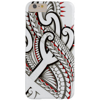 Contemporary Maori tribal design with red accents Barely There iPhone 6 Plus Case