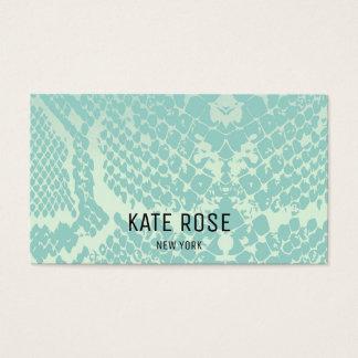 Contemporary Mint Blue Python Skin Business Card
