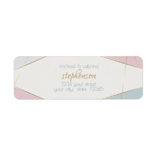 Contemporary Modern Geometric Stripes Teal Rose Return Address Label
