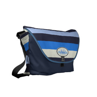 Contemporary Monogram Cool Blues and cream stripes Messenger Bags