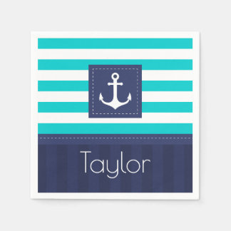 Contemporary Nautical Striped Design Personalized Disposable Serviette