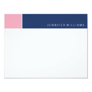 Contemporary Navy and Pink Color Blocks 11 Cm X 14 Cm Invitation Card