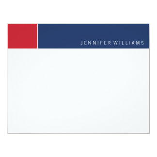 Contemporary Navy and Red Color Blocks 11 Cm X 14 Cm Invitation Card