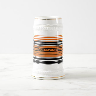 Contemporary orange and black horizontal stripes beer steins