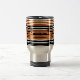 Contemporary orange and black horizontal stripes stainless steel travel mug