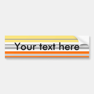 Contemporary orange and yellow horizontal stripes bumper sticker