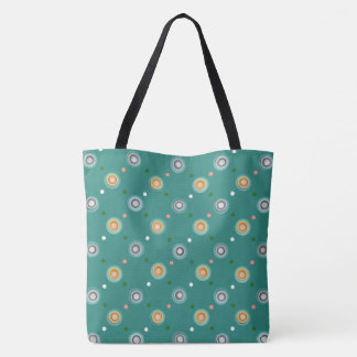 Contemporary Orange Polka Dotted Tote Bag