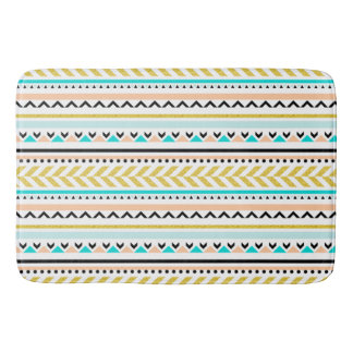 Contemporary Pastel Aztec Inspired Pattern Bath Mats