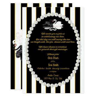 Contemporary Pearls & Swans Wedding Invite
