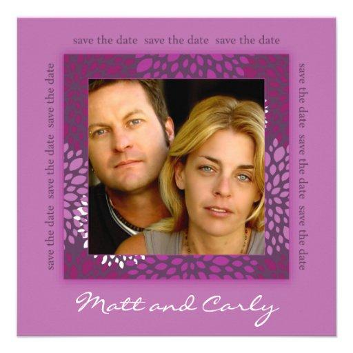 Contemporary Petals Purple Save Date Photo Invite