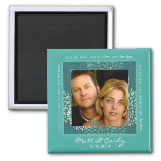 Contemporary Petals Turqoise Save Date Magnet