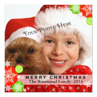 Contemporary Photo Christmas Card 13 Cm X 13 Cm Square Invitation Card