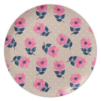 Contemporary Pink Flowers Pattern Plate