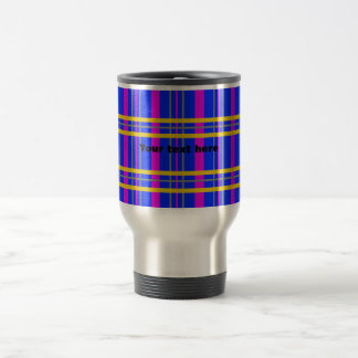 Contemporary pink gray plaid stainless steel travel mug