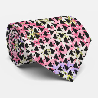 Contemporary pink green black diamond weave design tie