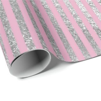 Contemporary Pink Silver Stripes Lines Shiny