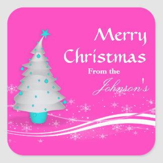Contemporary Pink  White Christmas Tree Gift Tag