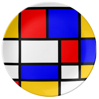 Contemporary plate Mondrian style Porcelain Plate