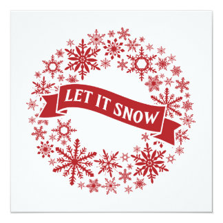 contemporary | red and white snowflakes 13 cm x 13 cm square invitation card
