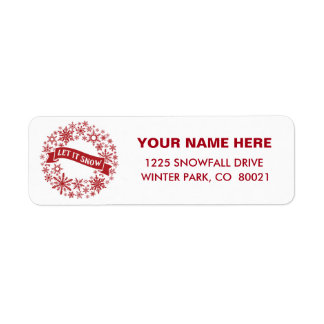 contemporary   red and white snowflakes return address label