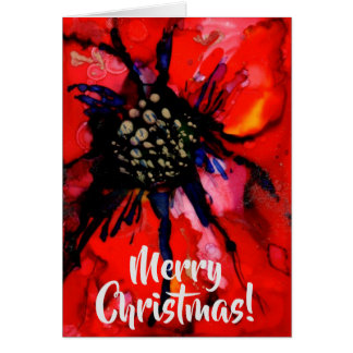 Contemporary red poinsettia greeting card