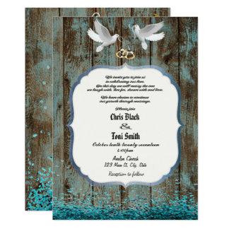 Contemporary Rustic Wood & Doves Wedding Invite