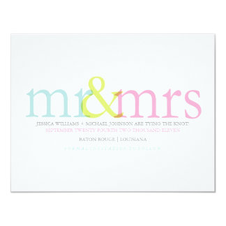 Contemporary Save the Date | Colorful Mr & Mrs Card