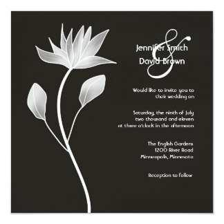 Contemporary Silver Magnolia Wedding Invitation
