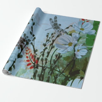 Contemporary Silver-wing Dragonflies / Floral Wrapping Paper