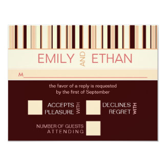 Contemporary Stripe in Brown RSVP Wedding Card 11 Cm X 14 Cm Invitation Card