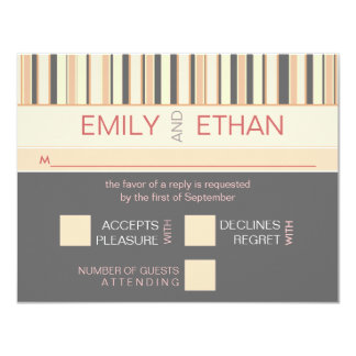 "Contemporary Stripe in Gray RSVP Wedding Card 4.25"" X 5.5"" Invitation Card"