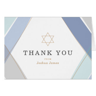 Contemporary Stripes Bar Mitzvah Thank You Card