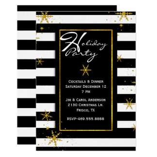 Contemporary Stripes Holiday Party Invitation