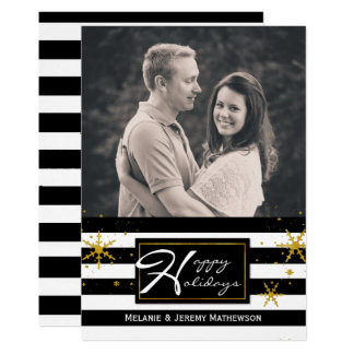 Contemporary Stripes Photo Holiday Greeting Card