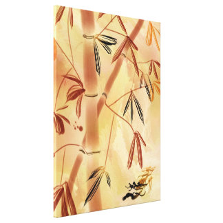 Contemporary Sumi-e Bamboo Wrapped Canvas Print