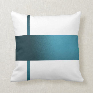 Contemporary Teal Strip White Pillow- Cushion