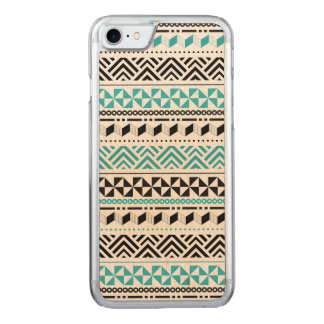 Contemporary Tribal Black and Aqua ZigZag Carved iPhone 8/7 Case