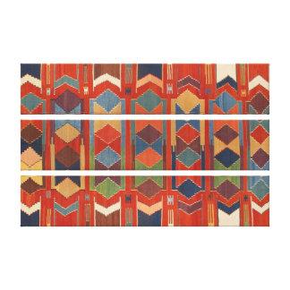 Contemporary Turkish Kilim Pattern Triptych Canvas Print