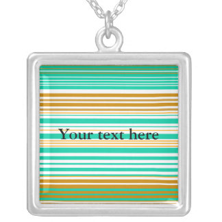 Contemporary turquoise and brown stripes square pendant necklace