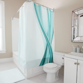Contemporary Turquoise Streamers Shower Curtain