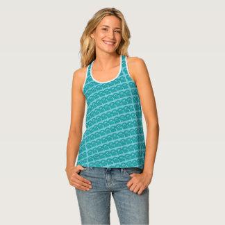 Contemporary Water Waves Aqua Print Tank Shirt