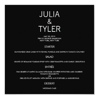 Contemporary Wedding Menu Card