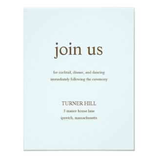 Contemporary Wedding Reception Cards - Blue 11 Cm X 14 Cm Invitation Card