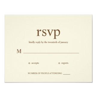 Contemporary Wedding RSVP cards - Khaki 11 Cm X 14 Cm Invitation Card