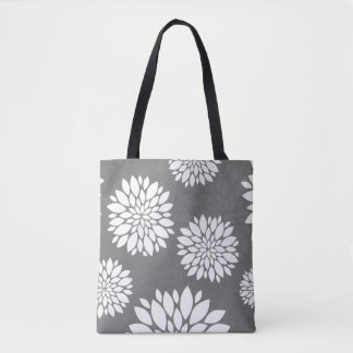 Contemporary White Flowers Tote Bag