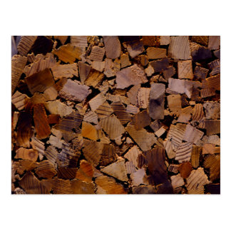 Contemporary wood chip design postcard