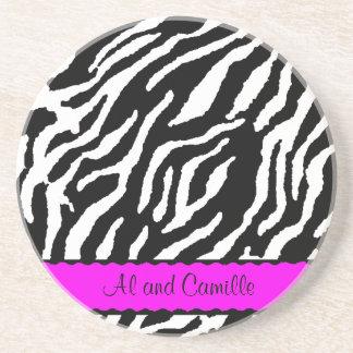 Contemporary Zebra Stripes With Hot Pink Ribbon Coaster