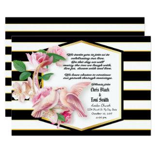 Contemporay Blk Stripes Floral Doves Wedding Invit Card