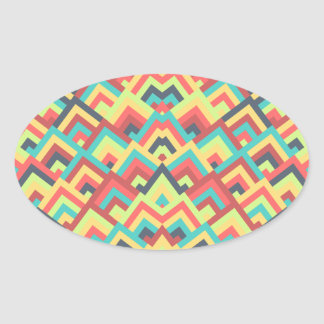 Contemporay Flats Zigzag Symmetric Peeks Pattern Oval Sticker