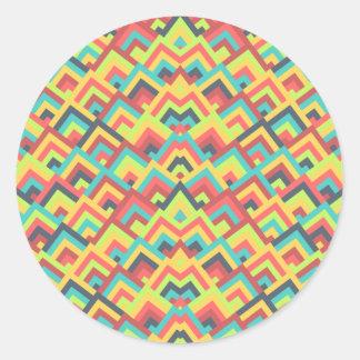 Contemporay Flats Zigzag Symmetric Peeks Pattern Round Stickers